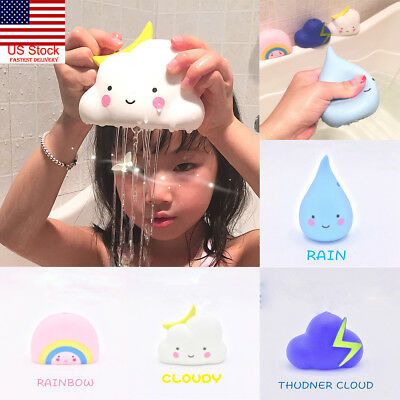 US 1PC Lovely Baby Bath Toys Kids Bathroom Play Water Spraying Tool Cloud Shape