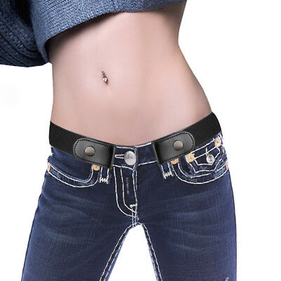Women's Buckle-Free Elastic Invisible Belt for Jeans No Bulge Hassle Band A6gB