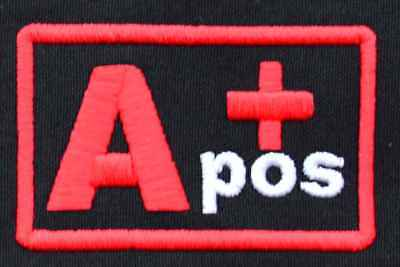 The blood group A+ positive pos IRON ON PATCH Aufnäher Parche brodé patche toppa