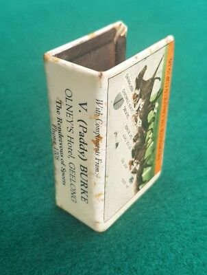 Matchbox Cover Olney's Hotel Geelong MELBOURNE CUP