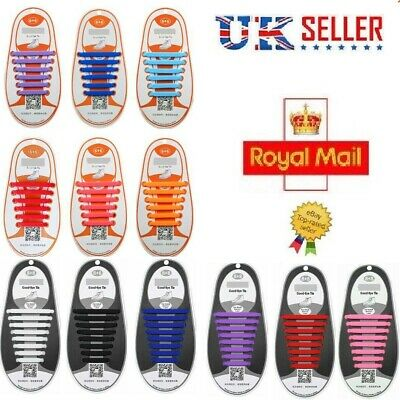 Elastic Silicone No Tie 'Lazy' Shoe Laces Shoelaces Trainers Shoes Adult & Kids❤
