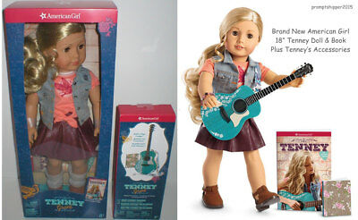 "American Girl TENNEY 18"" DOLL, BOOK & ACCESSORIES with Guitar Friend of Logan"