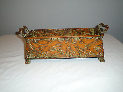 Vintage Tole  Footed Floral Decorated Planter