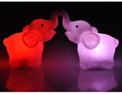 Cute Magic LED Night Light  Elephant Shape Colorful Color Changing Lamp Room Bar