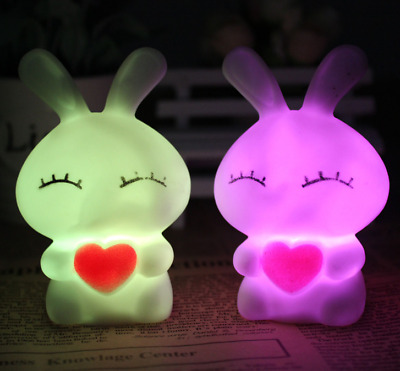 Cute Magic LED Night Light  Rabbit Shape Colorful Color Changing Lamp Room Bar