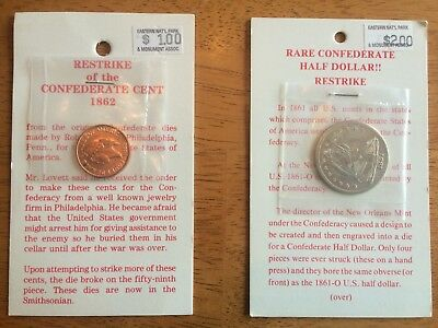 1861 Confederate Half Dollar .50  & 1862 One Cent Coin Restrike Coins