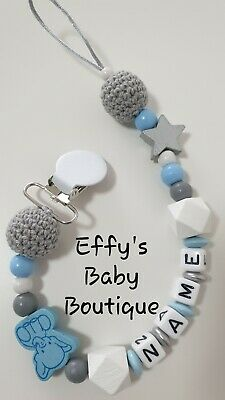 10mm LETTERS🐘Wooden💙Personalised Dummy Clip🐘Baby Gift💙Blue🐘Grey💙Elephant