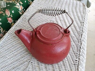 Antique Water Kettle Primitive Red Cast Iron Lid Bail Cool Handle farmhouse barn
