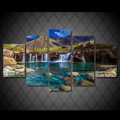 Waterfall Mountain Landscape 5 Pieces canvas Wall Art Print Picture Home Decor