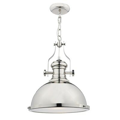 Vintage Style Industrial Pendant, Polished Chrome with Diffuser
