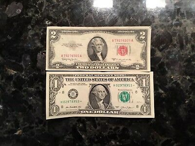 1953 C  $2 United States  Note  + 2013  $1 FRN - St. Louis -STAR NOTE