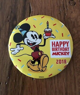 Disney Happy Birthday Mickey Mouse 90th Birthday 2018 Yellow Button Pin