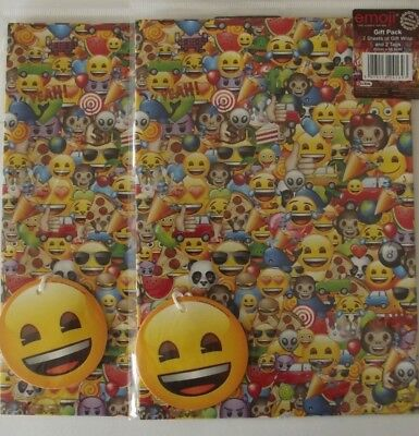 Gift Wrapping Paper Emoji Design 4 Sheets Face Tags
