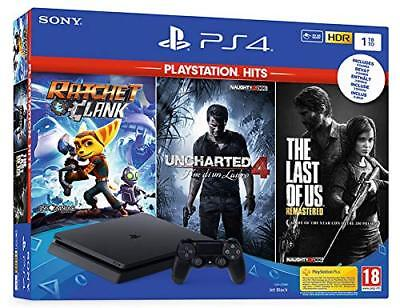 Sony Play Station PS4 1TB +Ratchet&C+TLoU+Uncharted4 Hits 1 DualShock 4 Wireless