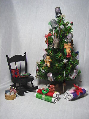 """Vintage Miniature Decorated 12"""" CHRISTMAS TREE for the Sewing and Crafter"""