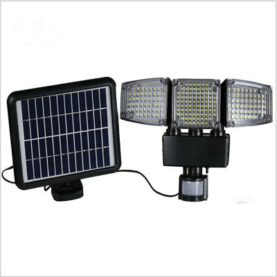 188 LED Triple Head Solar Powered PIR Motion + Dim 1000Lm Outdoor Flood Light