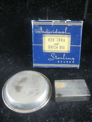 Sterling silver,Ashtray and Match Box Holder