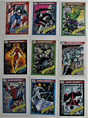 Lot 9 Marvel Comics Trading Cards 1990 SUPER HEROES Captain America Spider-Man