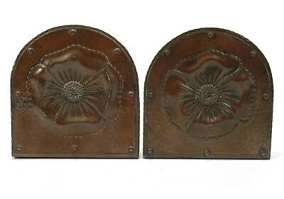Roycroft shops hammered copper chased poppy bookends arts & crafts brown