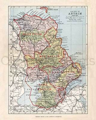 Antique County Map Bartholomew 1886 Ulster Belfast Lisburn County Antrim