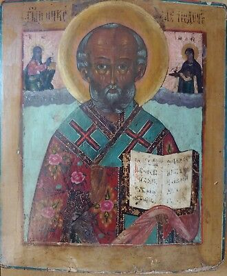 ANTIQUE 1780s RUSSIAN HAND PAINTED ICON OF THE ST.NICHOLAS