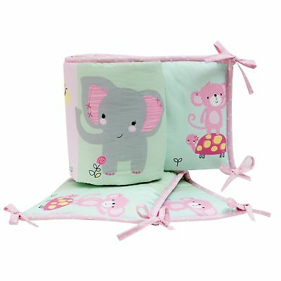 Bedtime Originals Twinkle Toes Pink/Blue/Green Elephant 4-Piece Baby Crib Bumper