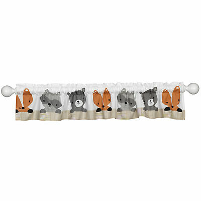 Bedtime Originals Acorn White/Beige/Gray Raccoon, Fox, and Bear Window Valance