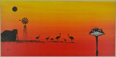 "Outback Emu , Original Painting 12""x24"""