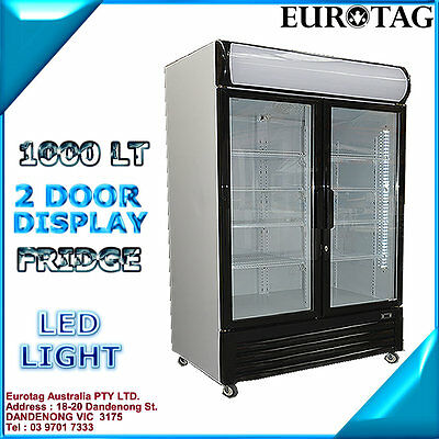 EUROTAG 208LT stainless steel 2 DOOR UNDER BENCH BACK BAR DISPLAY FRIDGE