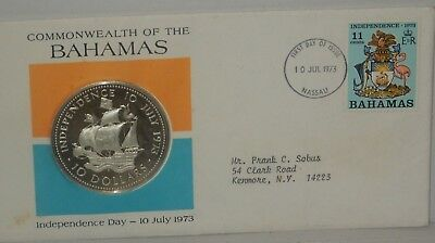 Bahamas 1973 Independence Day 10 Dollars 1.48oz Silver Coin,Proof, Bahamas Stamp