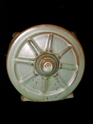 Vintage Frankoma Pottery Green Wagon Wheel Open Sugar Bowl or Vase