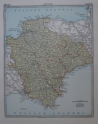 Original 1878 County Map DEVON England Plymouth Exeter Dartmoor Totness Torquay