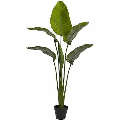"""5'4"""" UV-Resistant Outdoor Artificial Bird Of Paradise Palm Tree w/Pot -Green"""