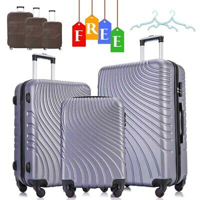 Set of 3 Luggage Set Travel Bag Trolley Spinner ABS Business Hard Shell Suitcase