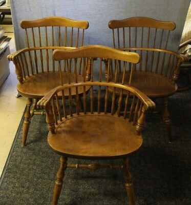 Set of 3 Ethan Allen Heirloom Nutmeg Maple Governor Bradford Arm Chairs 10-6102A