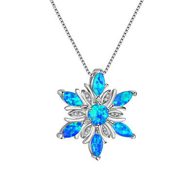 Elegant Fire Opal Flower Pendant Necklaces For Women Zircon Jewelry Gift