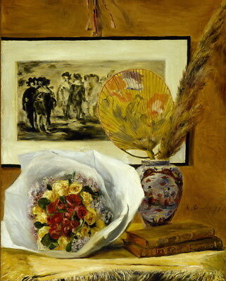 Still Life with Fuchsias by Auguste Renoir Flowers 8x10 Print Picture 1710