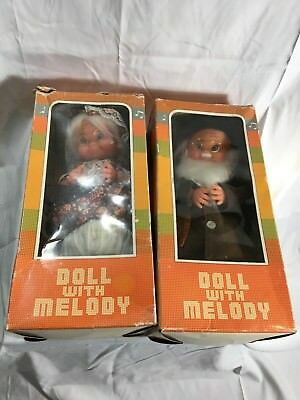 Rare Vintage Set Doll With Melody Grandma & Grandpa Elderly Couple IOB