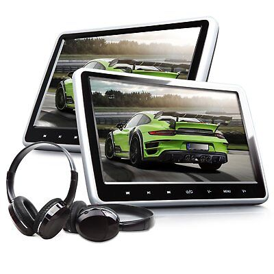 """US 2X HDMI 10"""" LCD Car Headrest Active Monitor DVD/USB Player Game Headsets"""