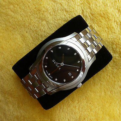 f0e834c3db6 Gucci 5500XL Stainless Steel Men s Watch Diamond Dial Excellent Condition  38mm