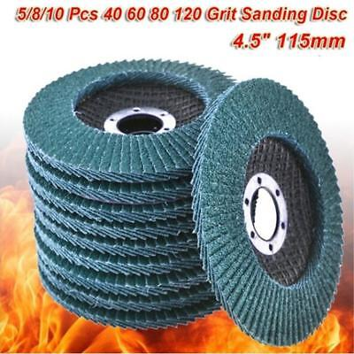10 X Flap Disc 115mm 4.5 Angle Grinder 40/60/80/120 Grit Grinding Wheels I2ST