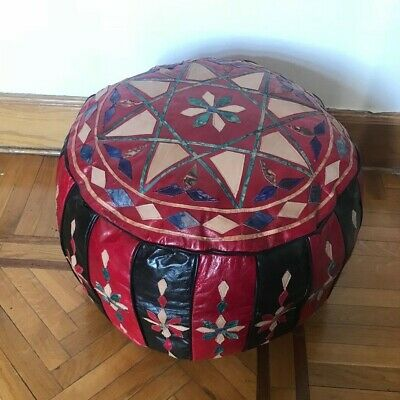 Egyptian camel leather footstool Pouf pouffe hand quilted red and black Large