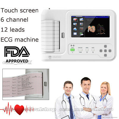 Touch 6-Channel Electrocardiograph 12-lead ECG/EKG Machine+PC Software,+ Printer