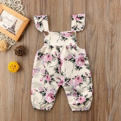 USA Newborn Toddler Baby Girl Clothes Floral Romper Overalls Summer 1PC Outfit