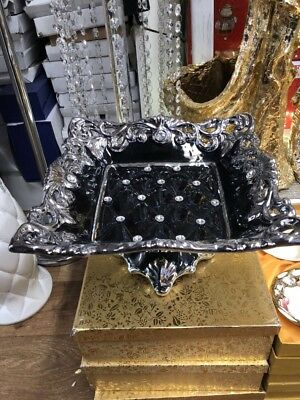 Beautiful Black And Silver Fruit Bowl With Diamontes Romany Collectible Bling