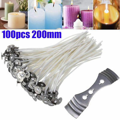 Pack 100 Pre Waxed Candle Wicks for Candle Making With Sustainers - 9/15/20cm UK