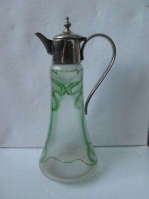 Vintage Antique Art Nouveau Glass Decanter Jug Pitcher