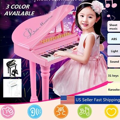 Kids Electronic Keyboard 31 Key Piano Musical Toy w/ Microphone & Stool 3 Color