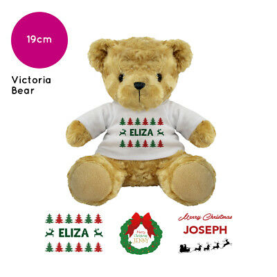 Personalised Name Christmas Victoria Teddy Bear Stocking Fillers Kids Boys Girls
