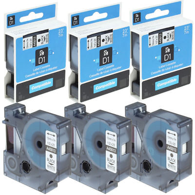 """3PK 45013 Compatible DYMO D1 Label Tape 12mm 1/2"""" Black on White Label manager"""